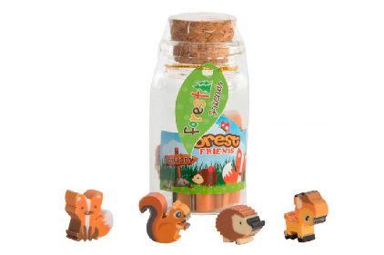 erdő állatai radírok palackban