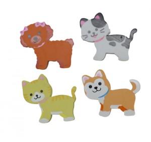 cica és kutya formájú radírok