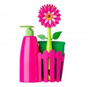 Mosogató szivacs, mosogatókefe, folyékony szappan adagoló, mosogató szivacs tartó, FLOWER termékcsalád tagja. Gyártó: VIGAR