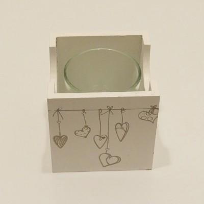 Szürke, fehér, romantikus mécsestartó szív mintával