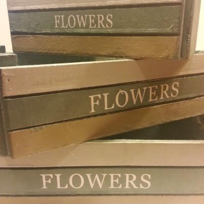 Virágláda, kaspó, fa, festett