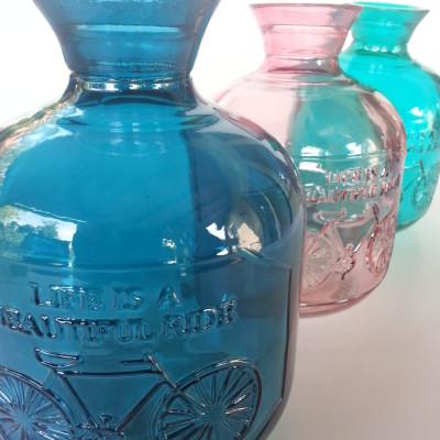 Vintage üveg, biciklis