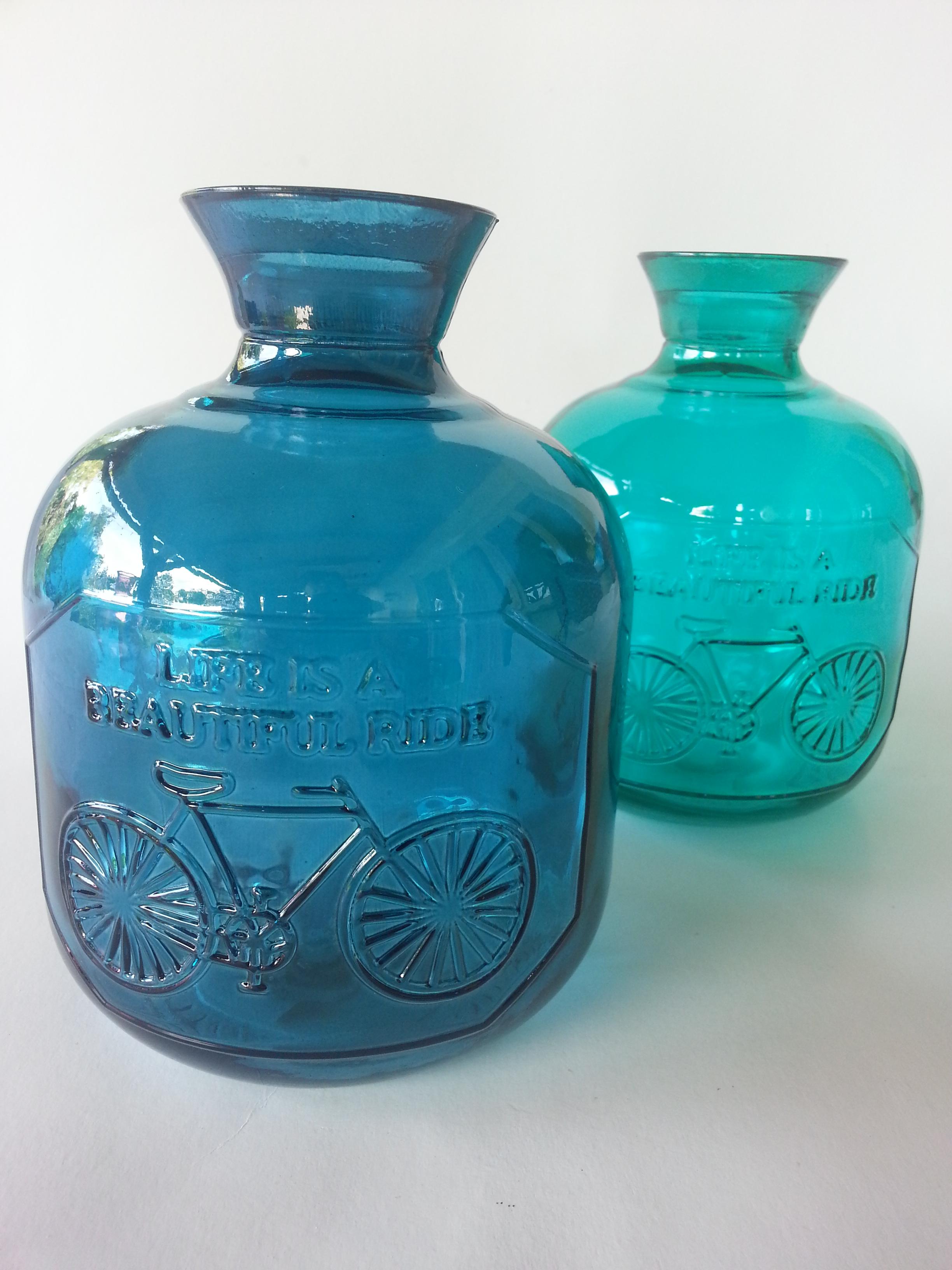 Üveg palack tengerész kék és türkiz színben