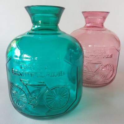 Üveg palack vintage dekorral, türkiz színben