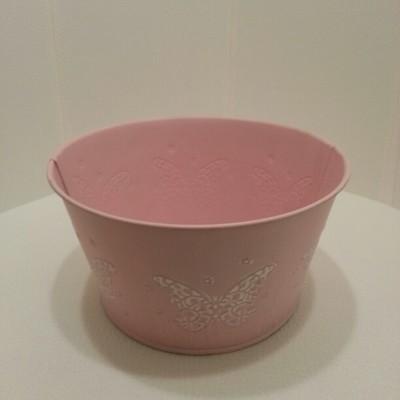 Rózsaszín fém kaspó dézsa lepke mintával