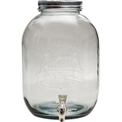 12,5 literes italadagoló zárható csappal, zárható fedéllel, üvegből. A limonádék, szörpök gusztusosan mutatnak benne.
