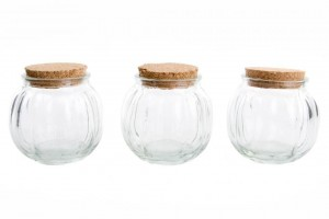 Fűszertartó, üveg tároló szett, parafa tetővel