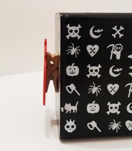 Fa persely Halloween tökkel kocka formájú