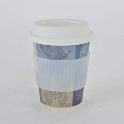 Thermo coffee to go bögre (környezetbarát). Kemény bambuszból, szilikon gallérralés szilikon kupakkal. 4 dl.