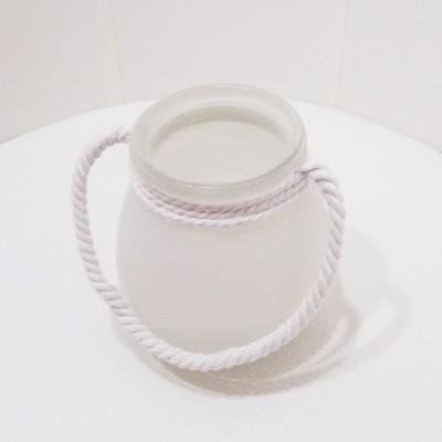Matt üveg mécses fehér színben