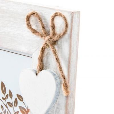 fa fényképkeret szív dekorral, love felirattal