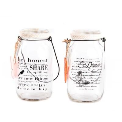 Pillangós, fém gyertyatartó üveg