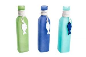 Üveg váza, a tenger színeiben, halas fa dekorral