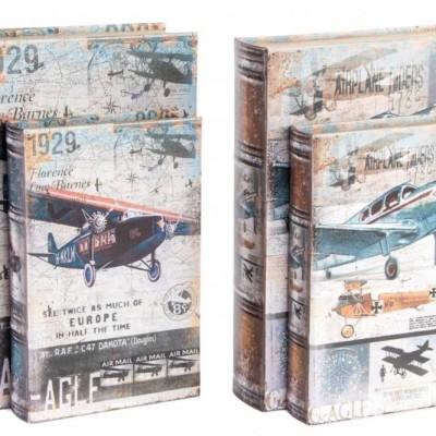 Könyv alakú retro fadoboz szett (2db) Repülőgép minta Biplane repülő