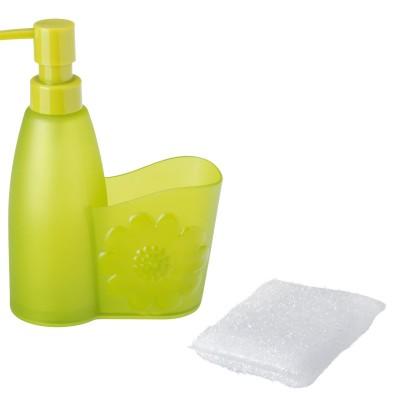 dizájn szappanadagoló, tartó és szivacs virág mintával