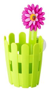 Flower eszköztartó. Kerítés és virágmintával.