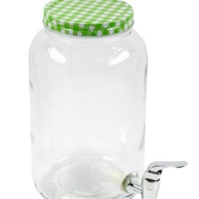 csapos üveg 3 literes italadagoló, Limonádés üveg zöld kockás tetővel