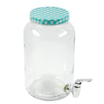 csapos üveg 3 literes italadagoló, Limonádés üveg kék kockás tetővel