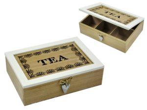 fa Teás doboz - 6 rekeszes teafilter tartó doboz
