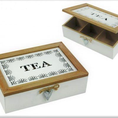 Teás doboz - 6 rekeszes teafilter tartó doboz