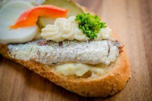 halas szendvics, kanapé szendvics, szilveszteri parti falatok