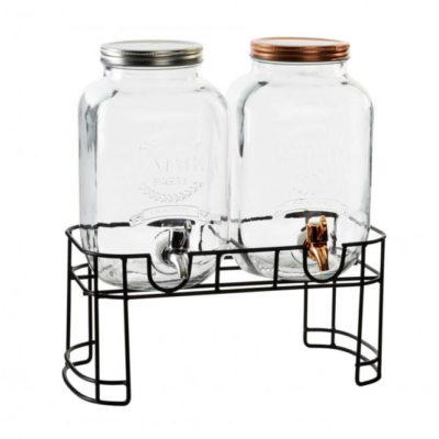 Csapos üveg, 2db 4 literes italadagoló állványon, könnyen kezelhető csappal. Limonádés üveg a lilapapagaj.hu ajánlásával.