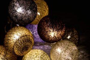 pamut gömblámpa sor, fényfüzér (10db színes pamut led gömb) Lilapapagaj.hu