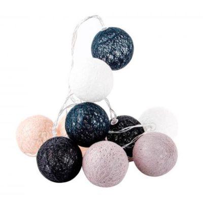 pamut gömblámpa sor, fényfüzér (10db szürke árnyalatos pamut led gömb) Lilapapagaj.hu