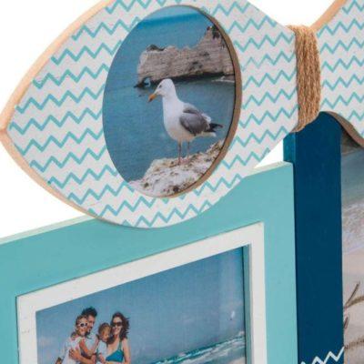 Kollázs fotókeret tengerpart, hal, csónak mintával