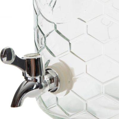 Csapos üveg, 5,5 literes italadagoló csatos tetővel, méhkas mintával. Könnyen kezelhető csappal. Limonádés üveg a lilapapagaj.hu ajánlásával.